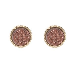 Red & Gold Druzy Stud Earring